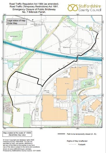 Closure of bridleway map