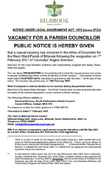 Notice of Casual Vacancy