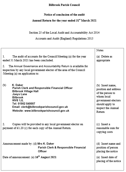 Notice of conclusion of audit 20-21